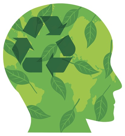 Human Head Silhouette with Recycle Symbol Go Green Leaves and World Map Illustration Isolated on White Background Stock Vector - 16221429