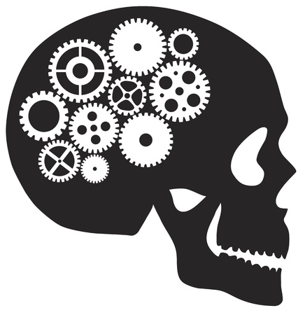 medical drawing: Skull Silhouette with Metal Mechanical Gears Illustration Isolated on White Background