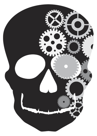 白い背景で隔離の機械的ギア図と頭蓋骨のシルエットに直面してフロント