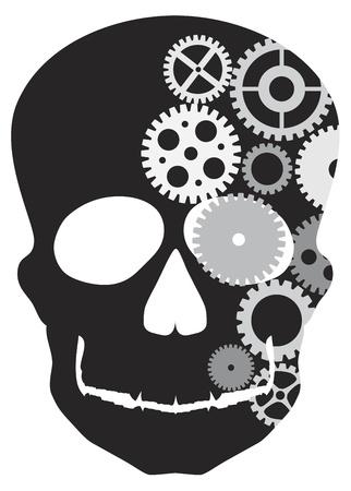 thinking machine: Frente Frente Skull Ilustraci�n Silueta con engranajes mec�nicos aislados en fondo blanco Vectores