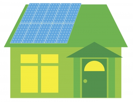 solar house: Solar Panels on Roof of Go Green House Illustration Isolated on White Background Illustration