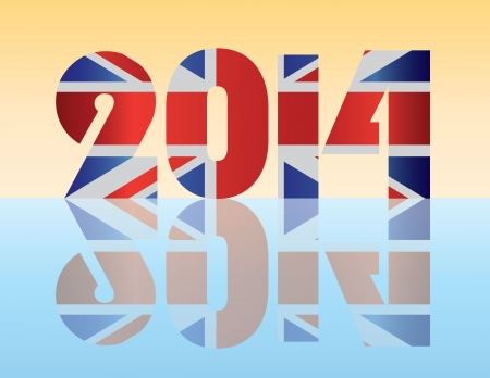 new england: Happy New Year London England 2014 SIlhouette with Union Jack Flag Illustration
