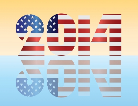 Happy New Year USA 2014 SIlhouette with American Flag Illustration Stock Vector - 16221434