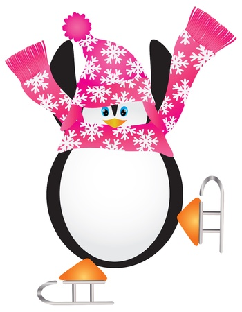 ice skates: Christmas Penguin with Pink Hat and Scarf Ice Skating Doing the Pirouette Illustration