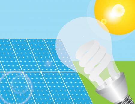 Solar Panels with Energy Saving Light Bulb Powered by the Sun Illustration