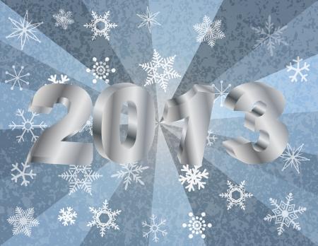 2013 Nieuw jaar cijfers in 3D en Sneeuwvlokken Zilveren Straal Getextureerde Achtergrond Illustratie