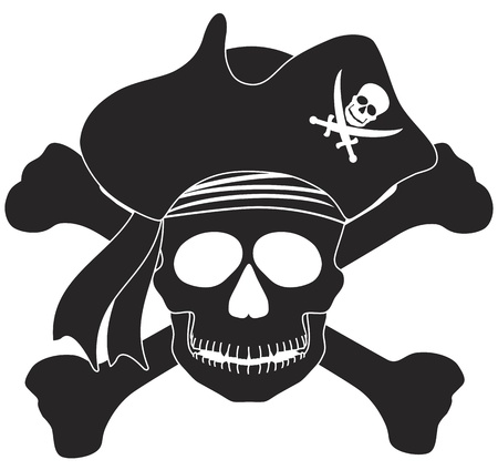 Skull with Captain Pirate Hat and Cross Bones Black and White Illustration Vector