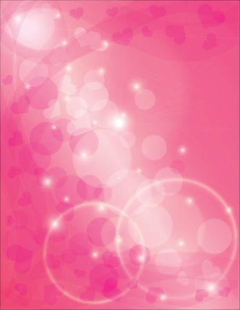 Eternity Rings with Pink Hearts and Fabric Scrolls Bokeh Background Illustration Vector