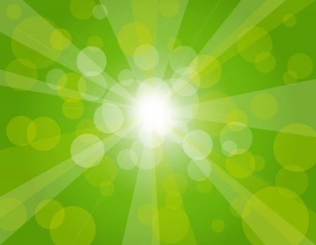 그린 봄 보케 원형 배경 그림에 태양 광선 일러스트