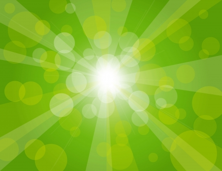 Sun Rays on Green Spring Bokeh Circles Background Illustration Vector
