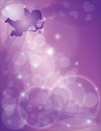 greeting card background: Valentines Day Cupid with Bow and Arrow with Purple Hearts and Fabric Scrolls Bokeh Background Illustration