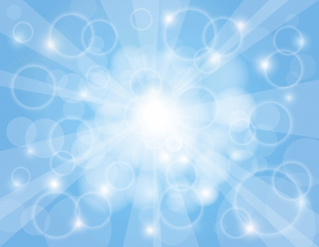 Sun Rays on Sky Blue Bokeh Circles and Blurred Background Illustration Ilustração