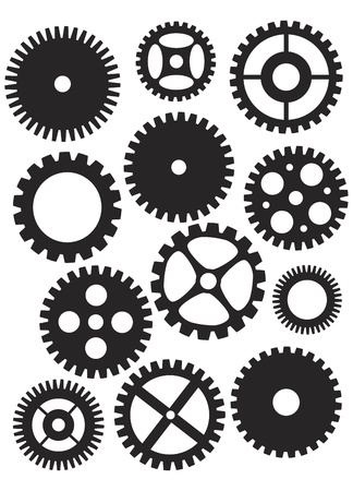 gears: Mechanical Gears or Pulleys of Various Shapes Designs and Sizes Black and White Illustration Isolated on White Background