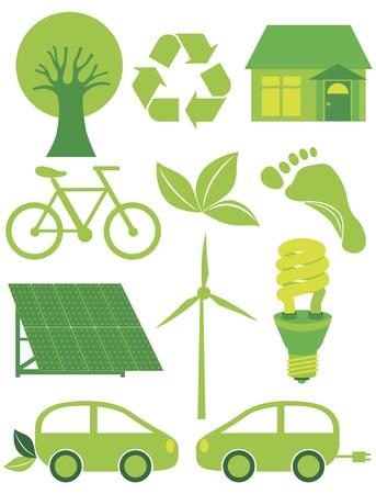 行く緑のエコ シンボル ツリー リサイクル葉のフット プリント自転車ソーラー パネルの風車電気車と電球の図  イラスト・ベクター素材