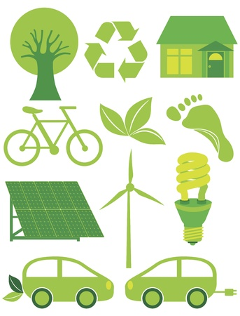 Go Green Eco Symbols with Tree Recycle Leaf Footprint Bicycle Solar Panels Windmill Electric Car and Bulb Illustration Vector