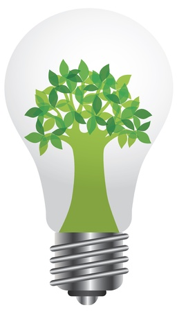 Lightbulb with Eco Green Tree Illustration Isolated on White Background Stock Vector - 16295131