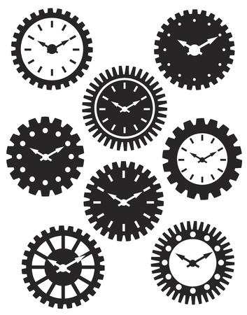 Time Watch or Clocks in Mechanical Gears Silhouette Outline Illustration Vector