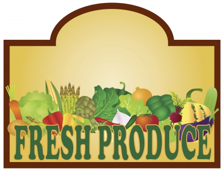 Grocery Store Fresh Produce Colorful Vegetables Signage Illustration Vector