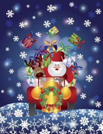 season: Santa Reindeer Driving in Classic Vintage Car Night Scene with Snowflakes Background Illustration