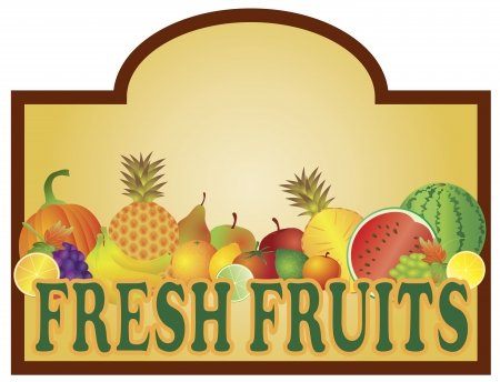 businesscard: Grocery Store Fresh Fruits Stand Colorful with Room for Text Signage Illustration