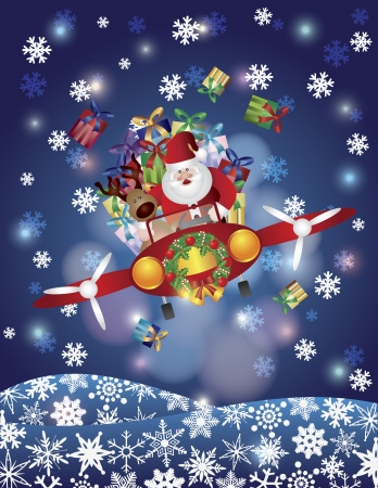 Santa Reindeer Flying in Classic Vintage Plane Night Scene with Snowflakes Background Illustration