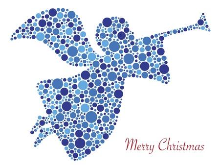 메리 크리스마스 텍스트 일러스트와 물방울 무늬의 크리스마스 엔젤 트럼펫 실루엣