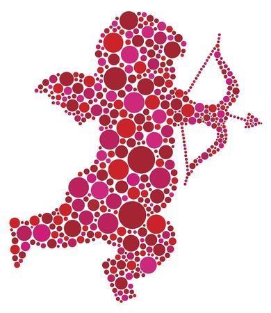 Valentijnsdag Liefde Cupido met pijl en boog Silhouet Gevuld met Roze en Rood Stippen Illustratie