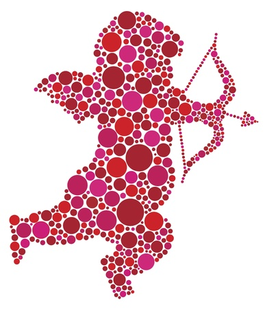 Valentines Day Love Cupid with Bow and Arrow Silhouette Filled with Pink and Red Polka Dots Illustration Vector