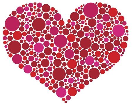 dessin coeur: Saint-Valentin amour en forme de coeur Silhouette en rose et rouge Illustration de points de polka
