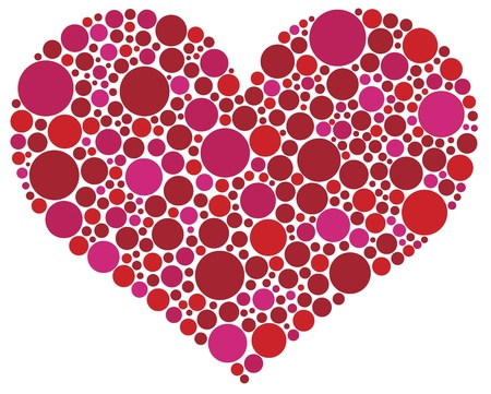 Valentines Day Love Heart Shape Silhouette in Pink and Red Polka Dots Illustration
