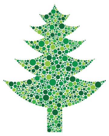 christmas tree illustration: Christmas Tree Silhouette with Polka Dots Pattern Illustration Isolated on White Background