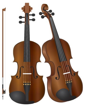 Violins in two perspectives with Bow Illustration Isolated on White Background