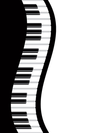 music poster: Piano Keyboards Wavy Border Background Illustration