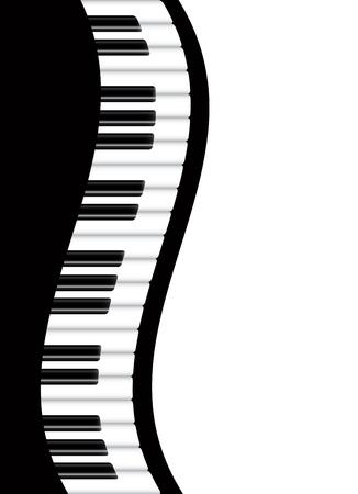 piano de cola: Piano Teclados ondulada Fronteriza ilustración de fondo