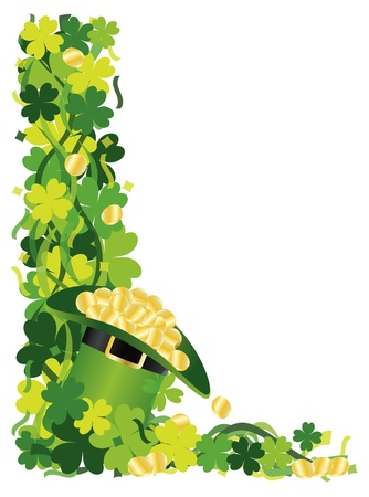 St Patricks Day Irish Lucky Four Leaf Clover with Leprechaun Hat of Gold and Confetti Border Illustration Vector