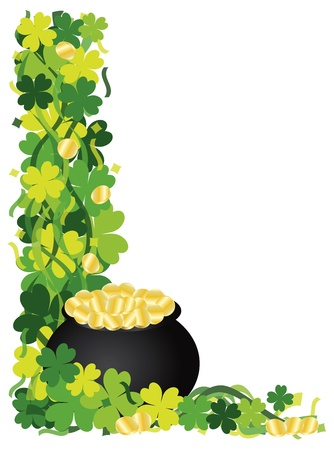 patricks: St Patricks Day Irish Lucky Four Leaf Clover with Pot of Gold and Confetti Border Illustration Illustration