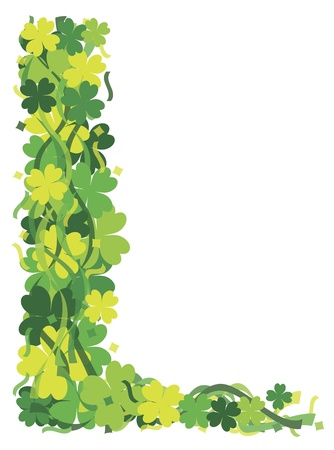 patricks: St Patricks Day Irish Lucky Four Leaf Clover with Confetti Border Illustration