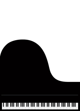 Teclado de piano de cola aislado en el fondo blanco Ilustración de vector