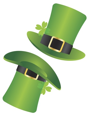 St Patricks Day Irish Leprechaun Hat with Four Leaf Clover Illustration Isolated on White Background Vector