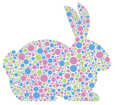 animal silhouette: Bunny Rabbit Silhouette in Pastel Colors Polka Dots Illustration Isolated on White Background Illustration