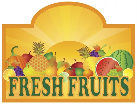 Grocery Store Fresh Fruits Stand and Sun Rays with Room for Text Signage Illustration Vector