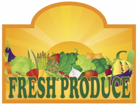 vegatables: Grocery Store Fresh Produce Colorful Vegetables and Sun Rays Signage Illustration