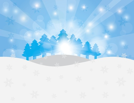 Christmas Trees in Winter Scene with Snowflakes and Sun Rays Background Illustration Stock Vector - 16556638