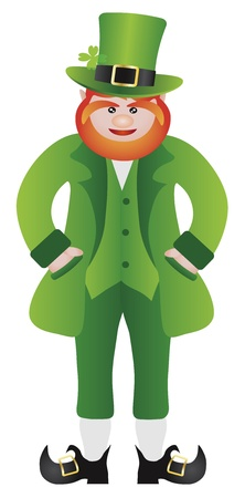 St Patricks Day Irish Leprechaun Standing with Hands in Pocket Illustration Isolated on White Background Vector