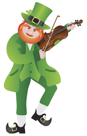 St Patricks Day Irish Leprechaun Fiddler Playing the Violin Illustration Isolated on White Background Vector