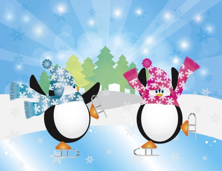pinguinos navidenos: Navidad Pingüinos Par figura de patinaje sobre hielo en la escena del invierno con los copos de nieve Pista de Hielo Árboles y Sun Rays Background Ilustración