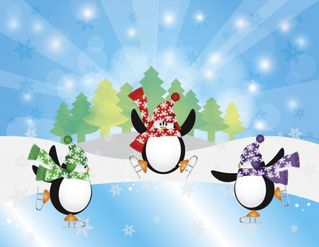 winter hat: Three Christmas Penguins Ice Skating in Ice Rink Winter Scene with Trees Snowflakes and Sun Rays Background Illustration