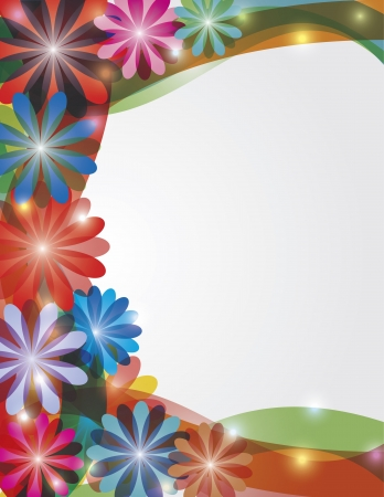Colorful Abstract Spring Flowers Border with Sparkles Illustration
