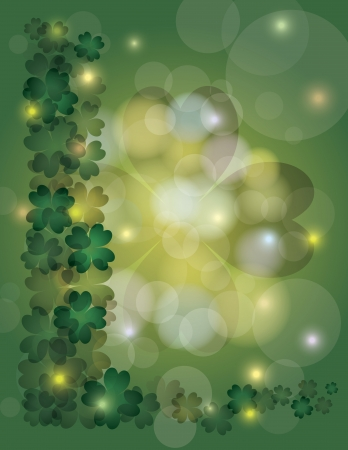 St Patricks Day Irish Lucky Four Leaf Clover Bokeh Border with Sparkles Illustration Vector