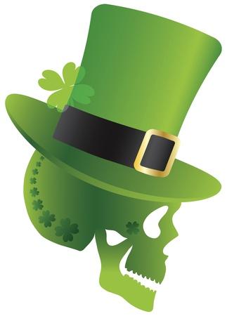 白い背景上に分離されてレプラコーン帽子側面プロファイル図と緑のアイルランドの頭蓋骨セント ・ パトリックス ・ デー